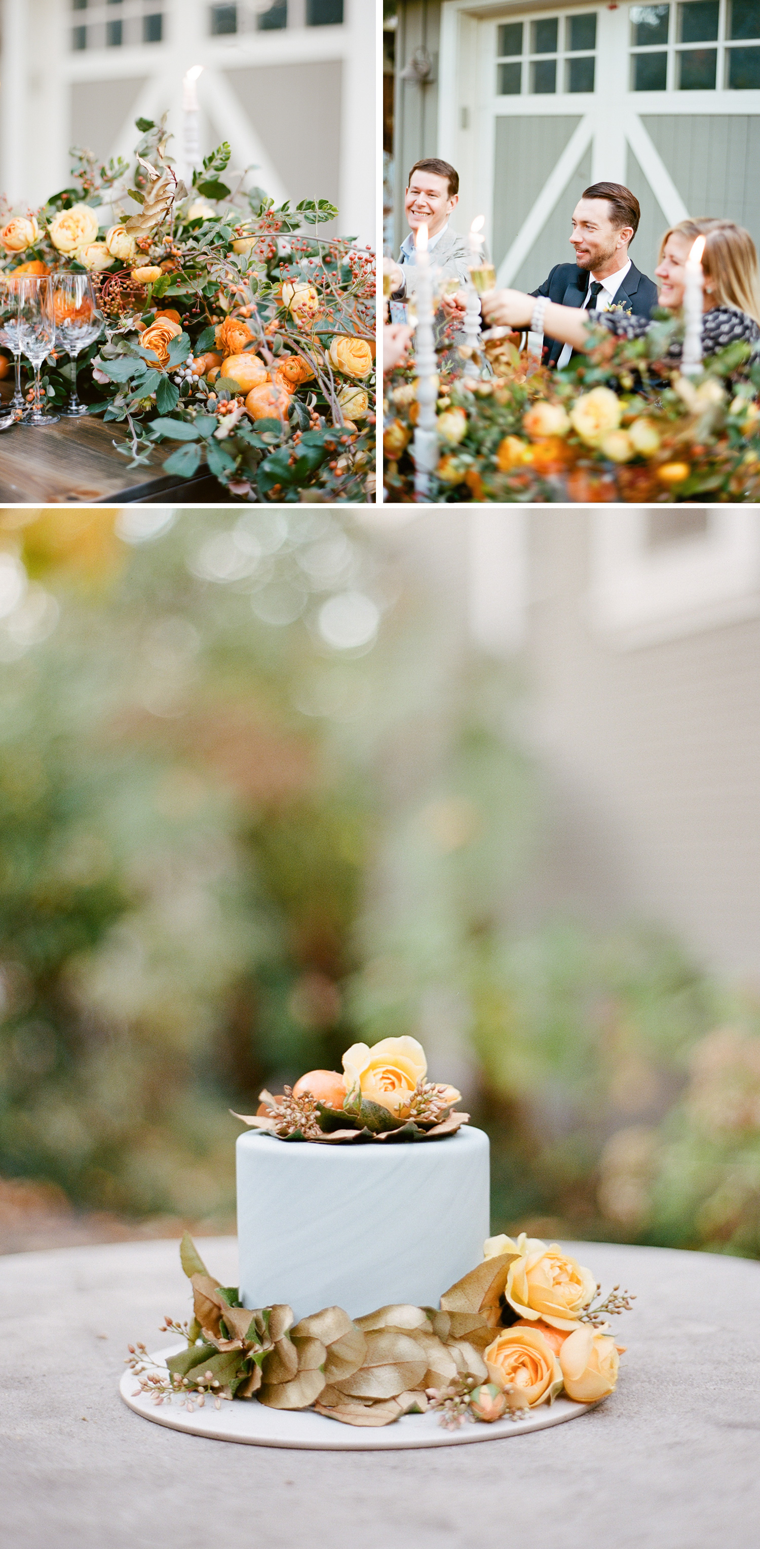 Guests toast champagne over a stunning persimmon peony floral garland, orange peonies decorate a single-tier grey wedding cake; Sylvie Gil Photography