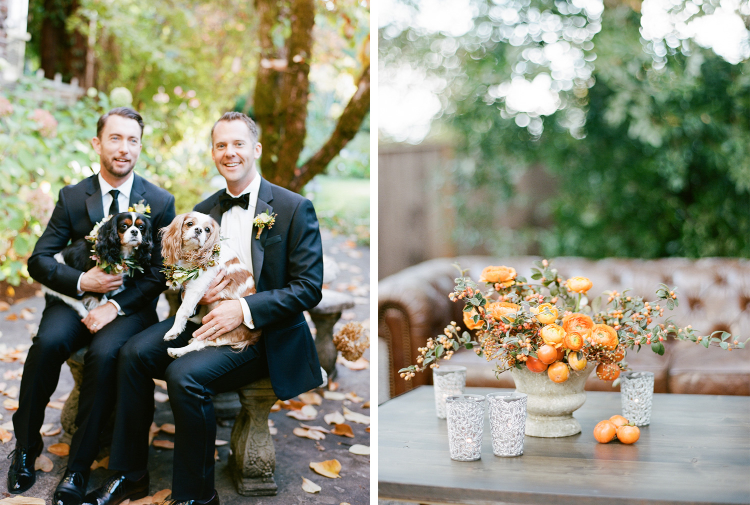 Grooms share a kiss holding their King Charles Spaniels in floral wreaths; Sylvie Gil Photography