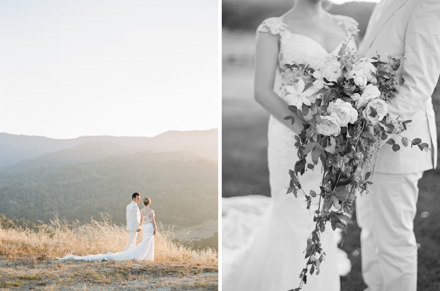 The bride's veils flows behind her during a romantic sunset couple session in the hills of Santa Lucia; photos by Sylvie Gil