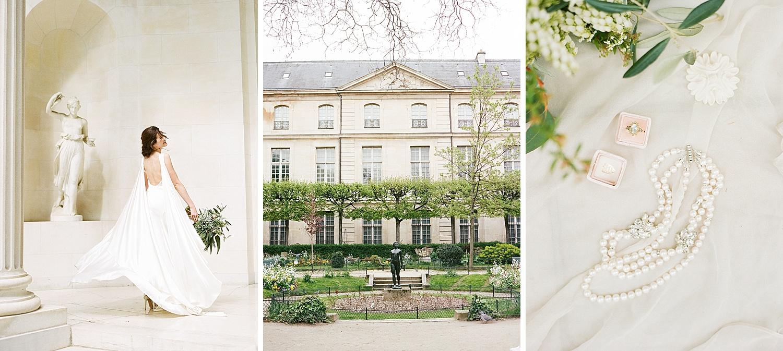 The bride twirls in a Cortana dress outside the Pavillon de la Musique in Paris; Sylvie Gil Photography