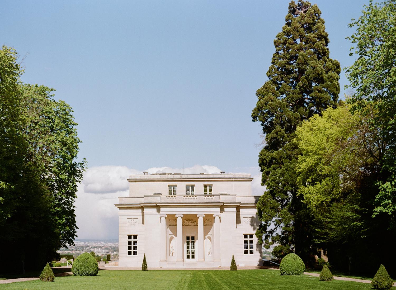 Exterior of Pavillon de la Musique de la Comtesse du Barry in Paris, France,from the gardens; Sylvie Gil Photography