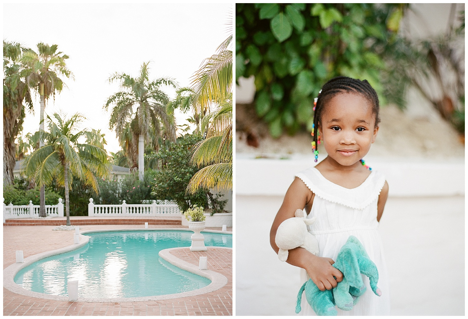 Hotel pool in Montego Bay, Jamaica, and cute wedding guest; Sylvie Gil Photography