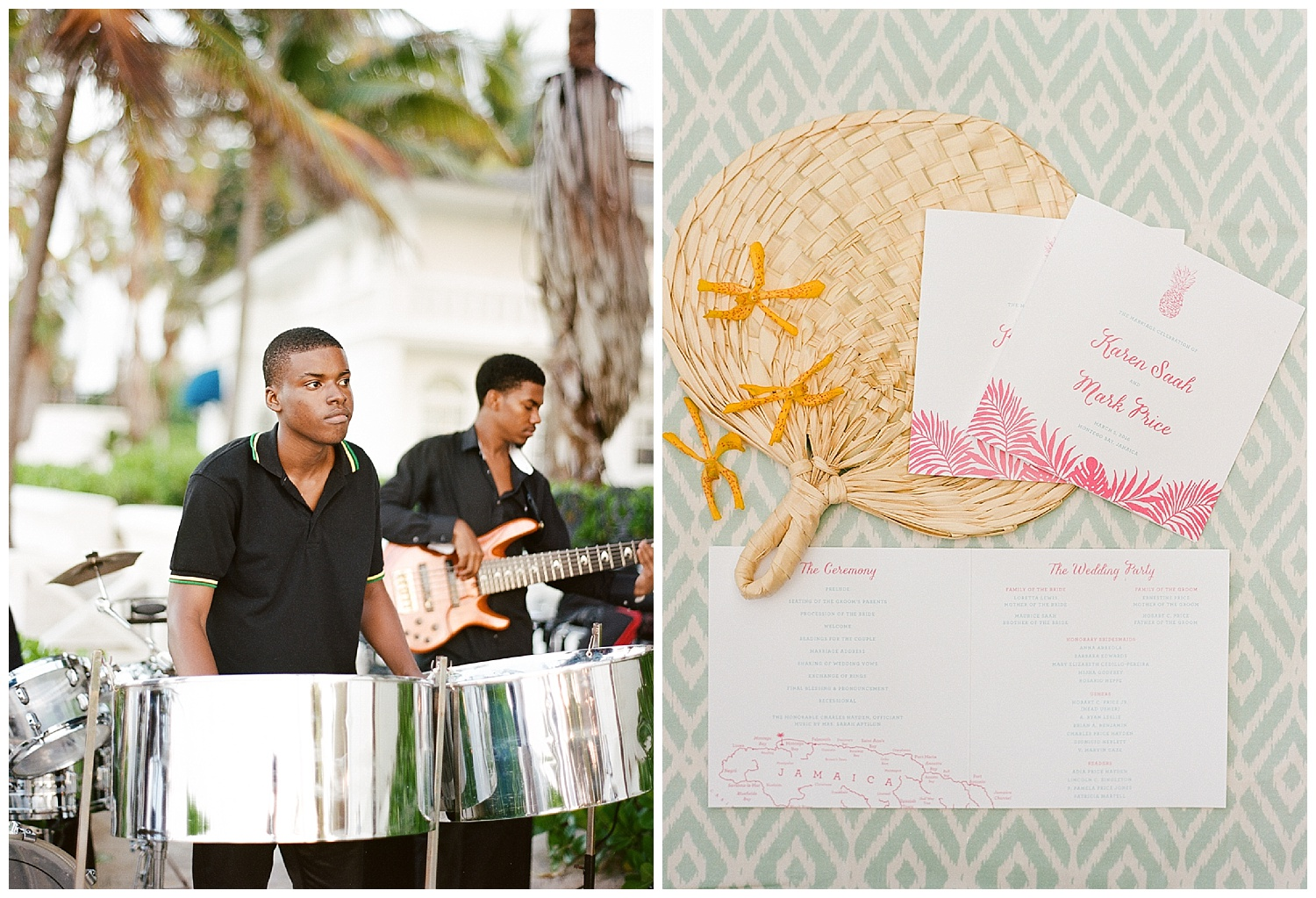 Jamaican steel drum ceremony band and pineapple motif wedding paper goods; Sylvie Gil Photography