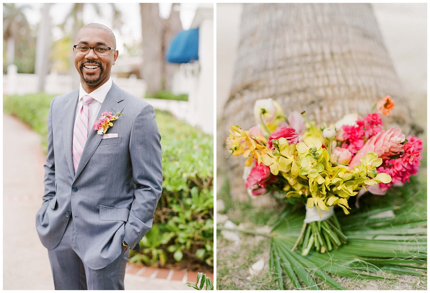 Local tropical blooms - pink, yellow, orange orchids made up ceremony and bouquet florals; Sylvie Gil Photography