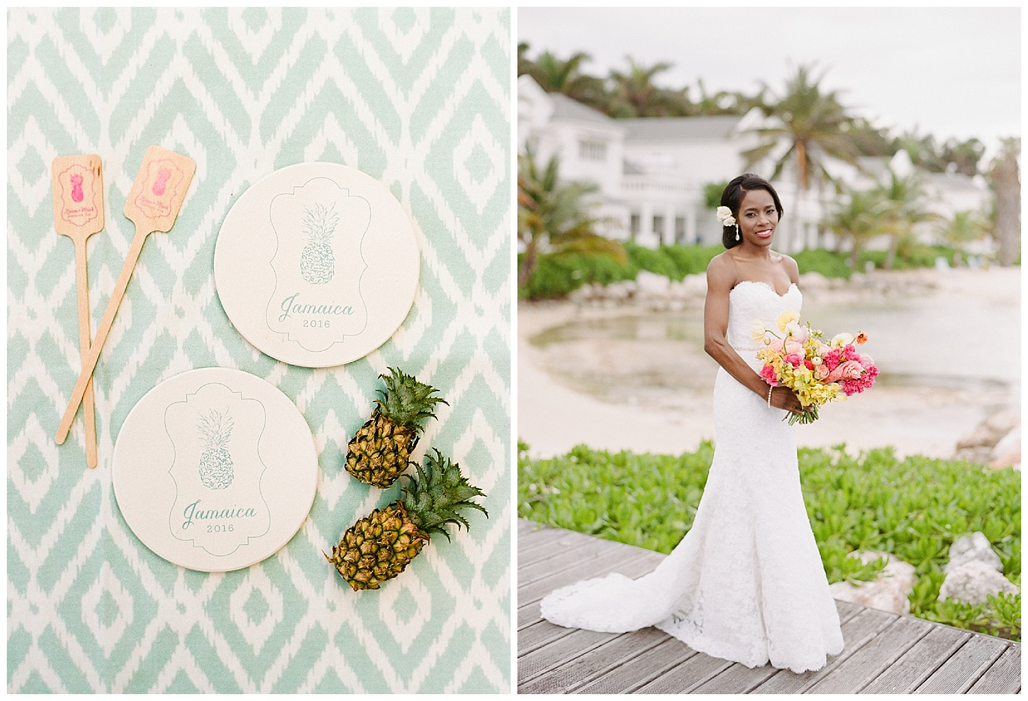 Pineapple motif coasters and drink stirrers, ikat patterns for a Montego Bay, Jamaica wedding; Sylvie Gil Photography