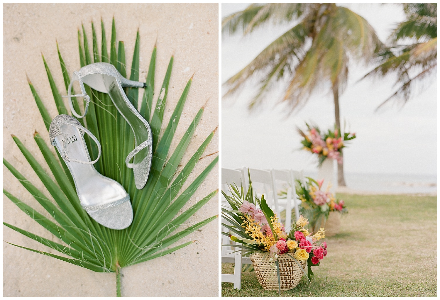Stuart Weitzman heels on a palm frond before the ceremony in Montego Bay, Jamaica; Sylvie Gil Photography