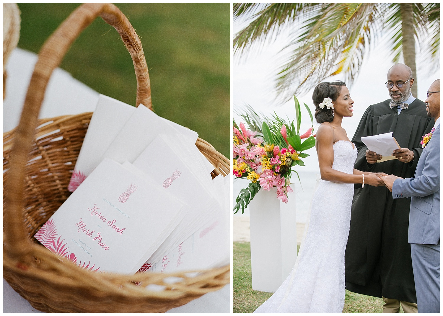 Pineapple motif ceremony programs in Montego Bay, Jamaica; Sylvie Gil Photography