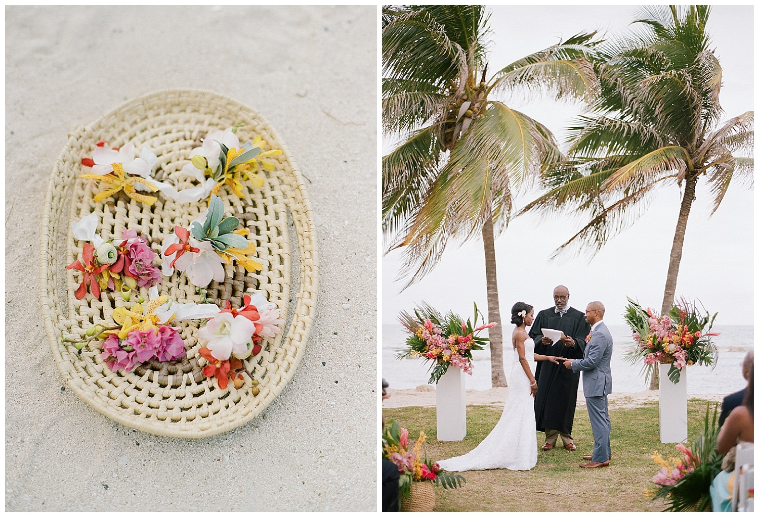 Corsages and boutonnieres made from colorful local tropical blooms in Montego Bay, Jamaica; Sylvie Gil Photography