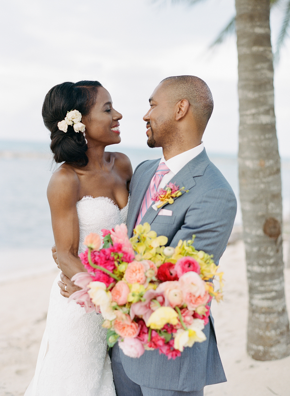Bride and groom in love after the wedding in Montego Bay, Jamaica; Sylvie Gil Photography