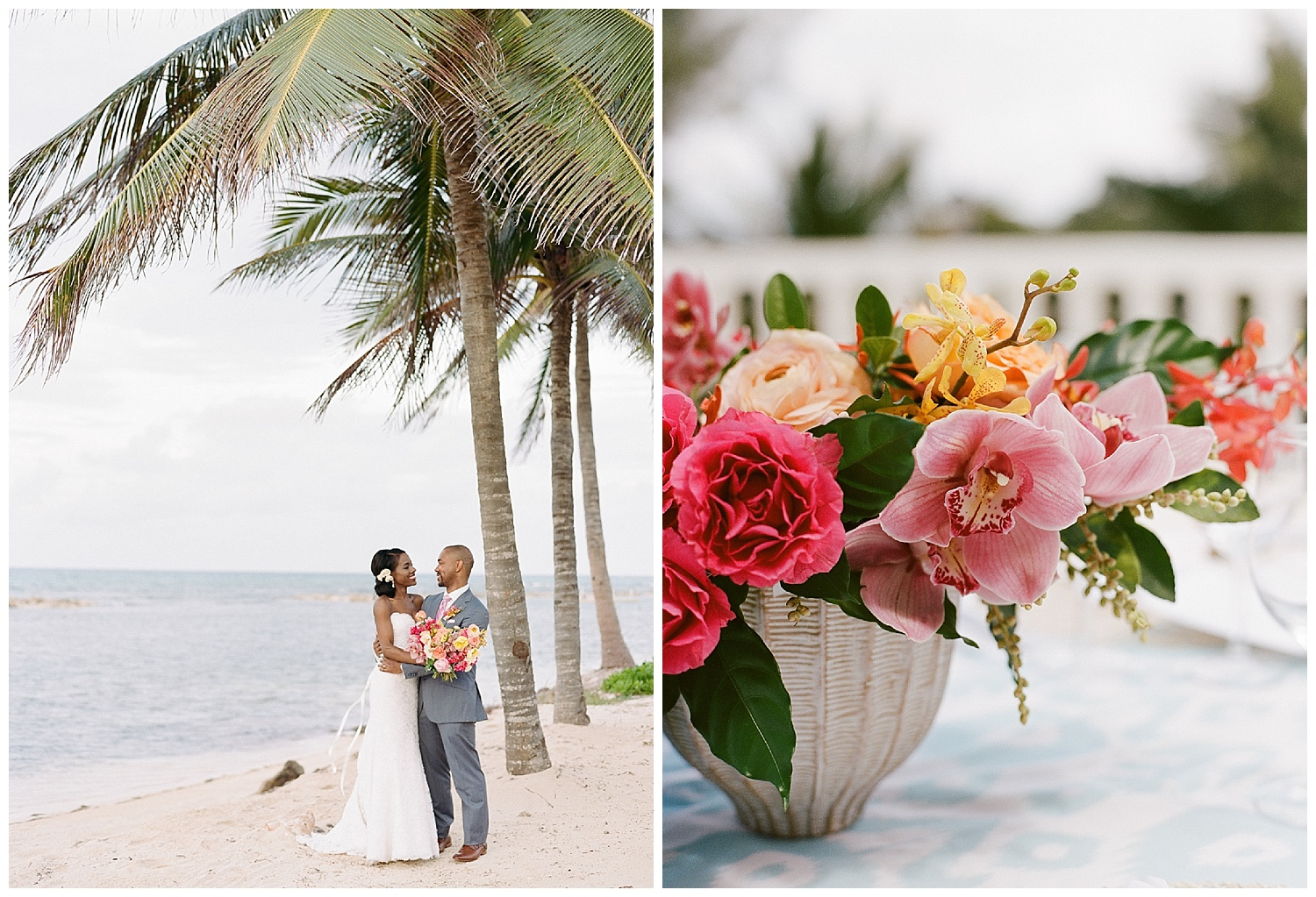 Local tropical blooms in wicker baskets for reception tables in Montego Bay, Jamaica; Sylvie Gil Photography