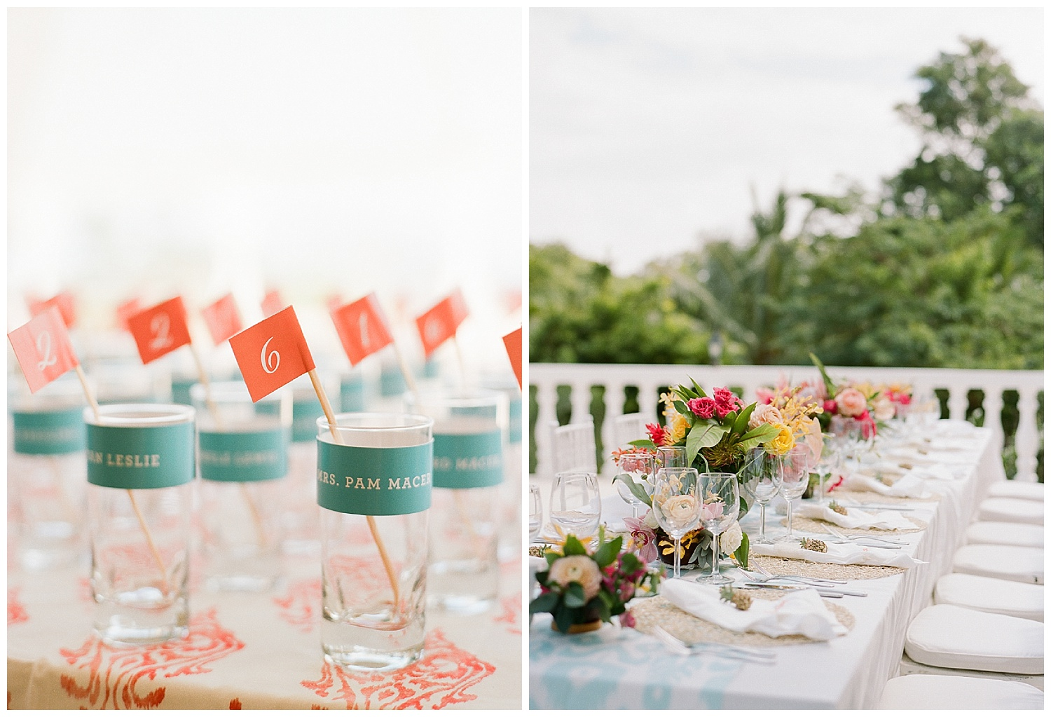Personalized cocktail glasses, ikat tablecloths, colorful tropical blooms; Sylvie Gil Photography