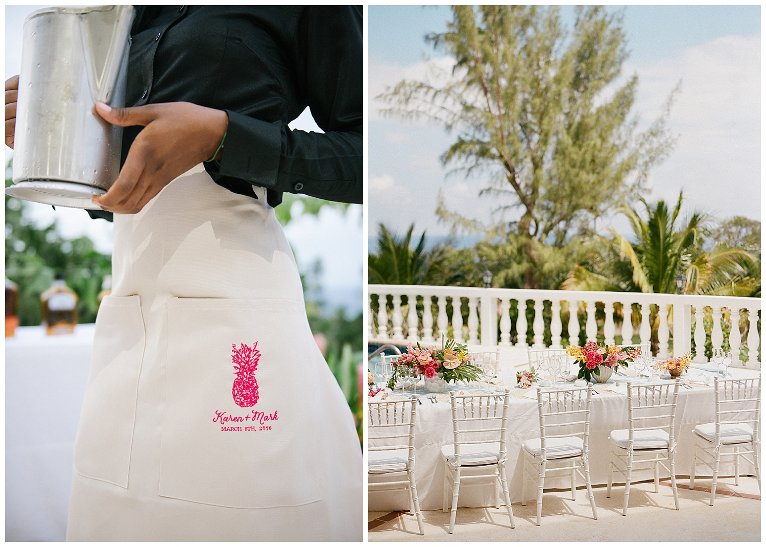 Personalized pineapple waitstaff aprons at Half Moon, Montego Bay wedding reception; Sylvie Gil Photography