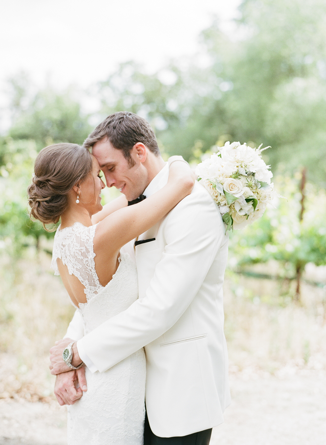 Couple first look before wedding at Vintage Estates in Yountville, CA; Sylvie Gil Photography