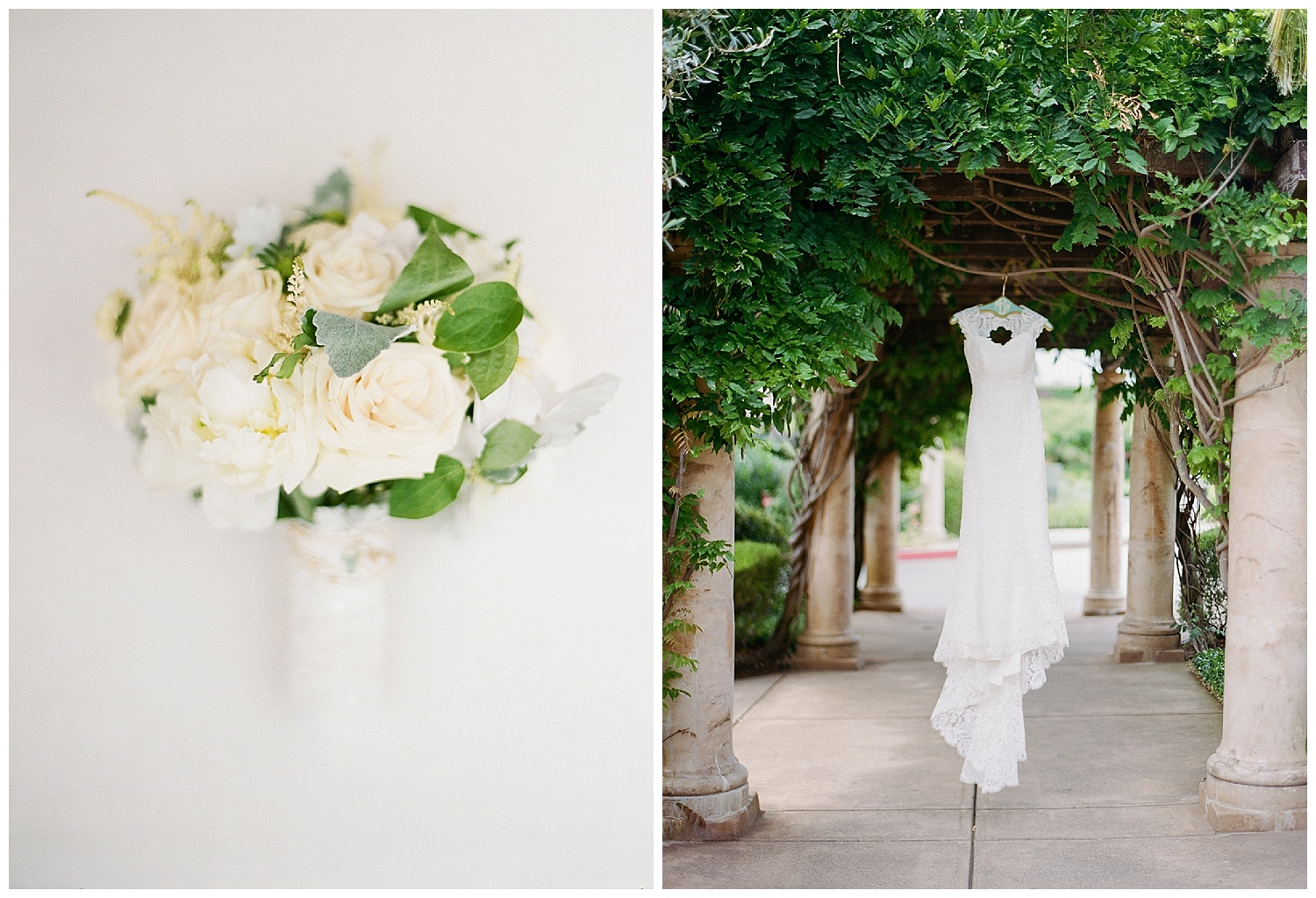Classic white bouquet and lace, backless Anna Maier wedding gown; Sylvie Gil Photography