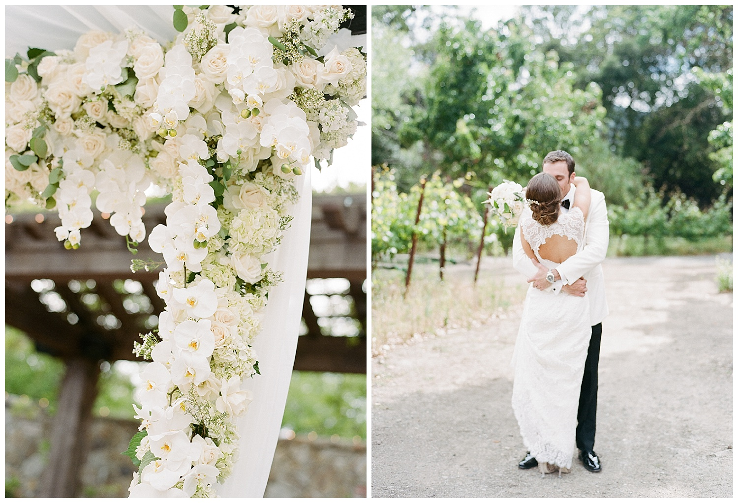 Bride and groom kiss during first look in Yountville vineyards of Vintage Estates; Sylvie Gil Photography