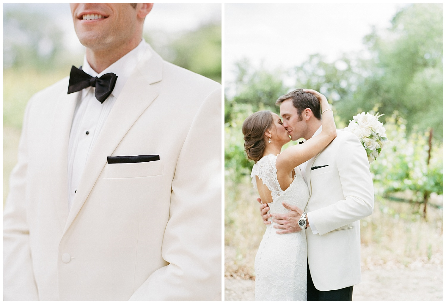 Groom's striking white tuxedo, bride and groom before the wedding at Vintage Estates, Yountville, CA; Sylvie Gil Photography
