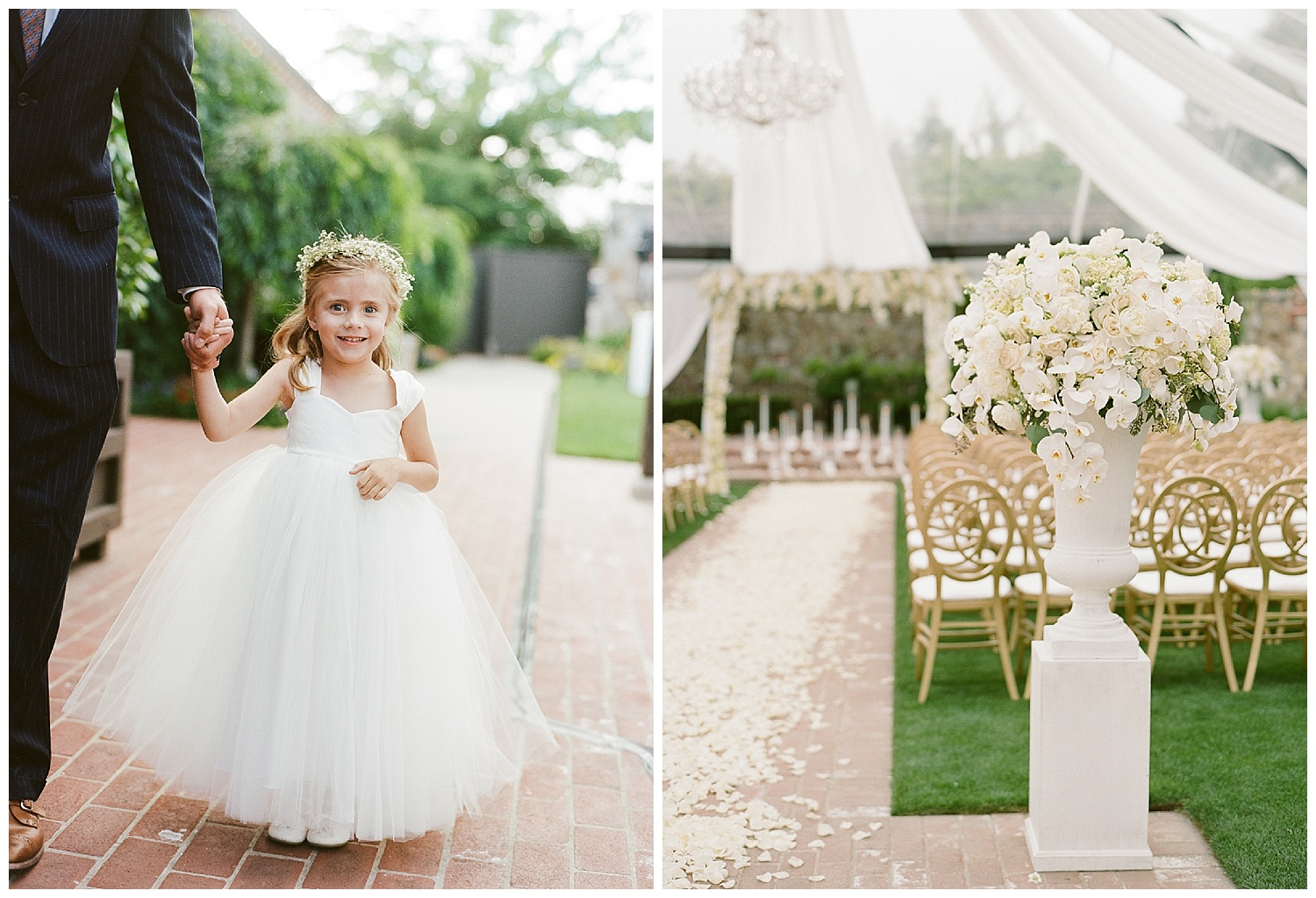 White and gold accents in the ceremony space and a flower girl before the ceremony in Napa Valley; Sylvie Gil Photography