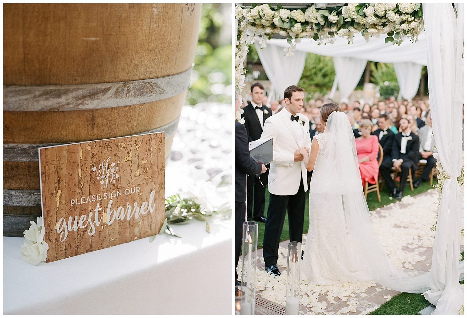 Bride and groom exchanging vows at the wedding ceremony at Vintage Estates, Yountville in Napa Valley; Sylvie Gil Photography