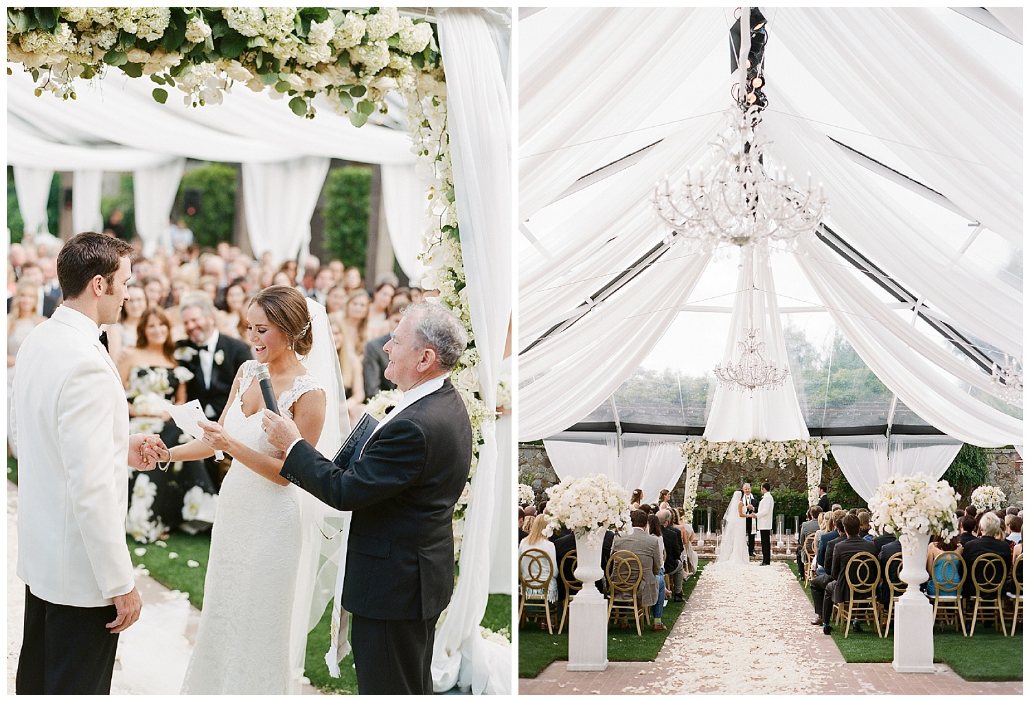 Bride reads her vows at wedding ceremony in white awning tent in Vintage Estates, Yountville; Sylvie Gil Photography