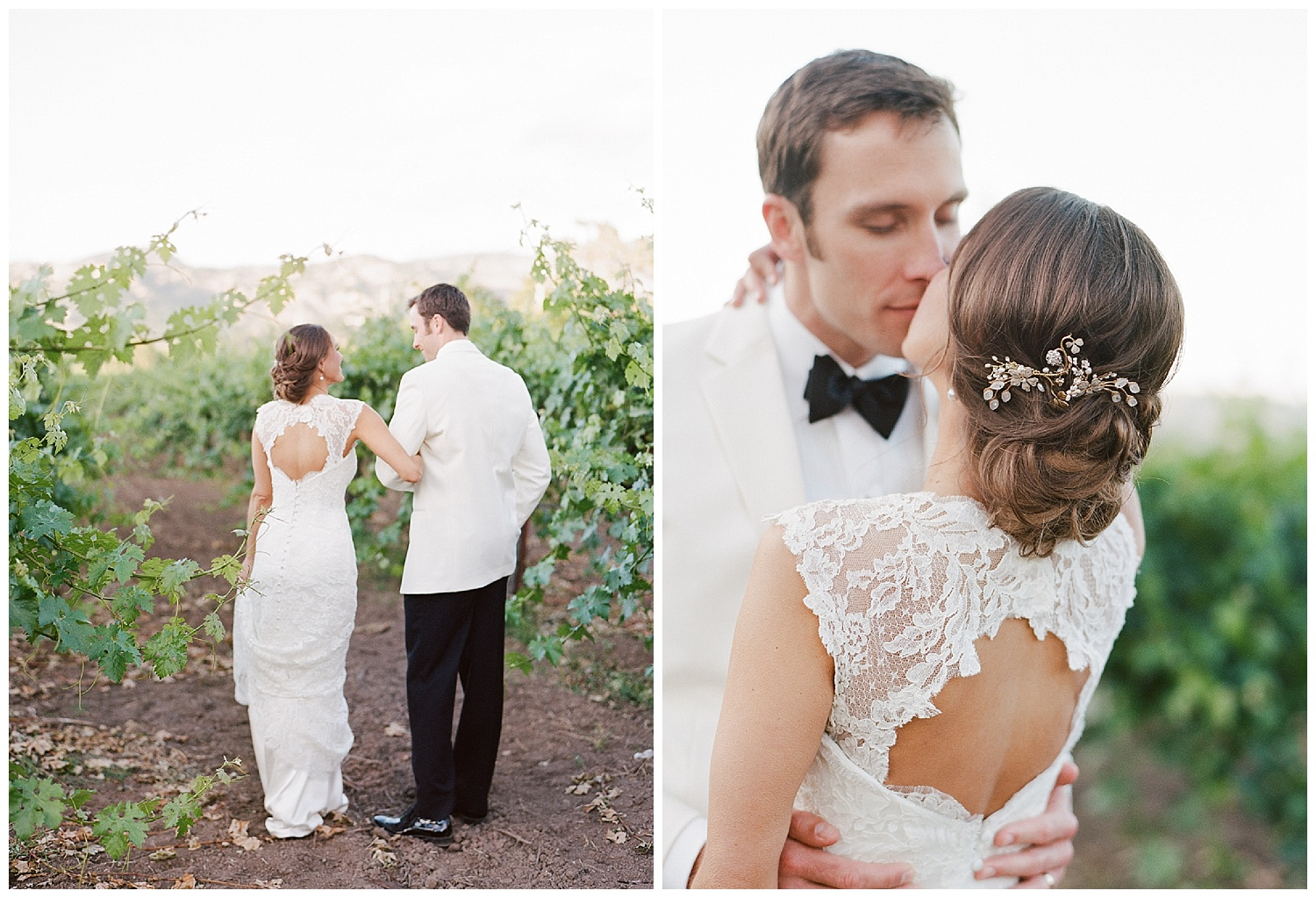 Bride in backless, lace Anna Maier gown after wedding at Vintage Estates; Sylvie Gil Photography