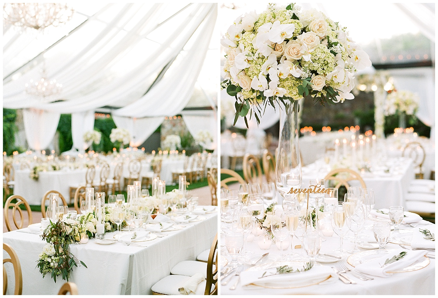 White florals and table settings complimented by gold accent chairs and table number markers; Sylvie Gil Photography