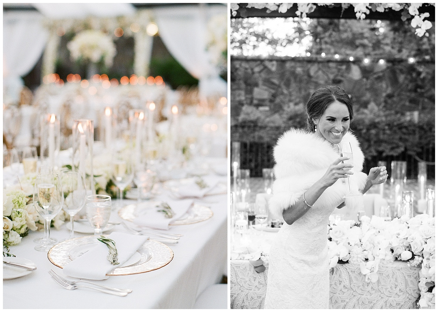 Bride making a toast at the reception dressed in a white fur shawl; Sylvie Gil Photography