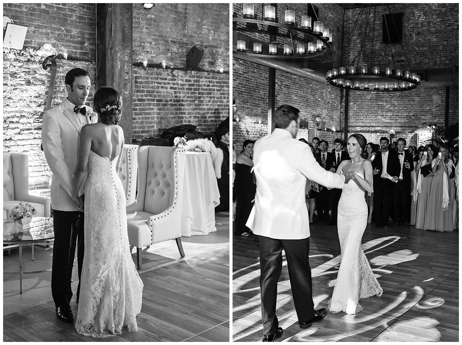 Bride and groom share a first dance at the pavilion of Vintage Estates, Yountville; Sylvie Gil Photography