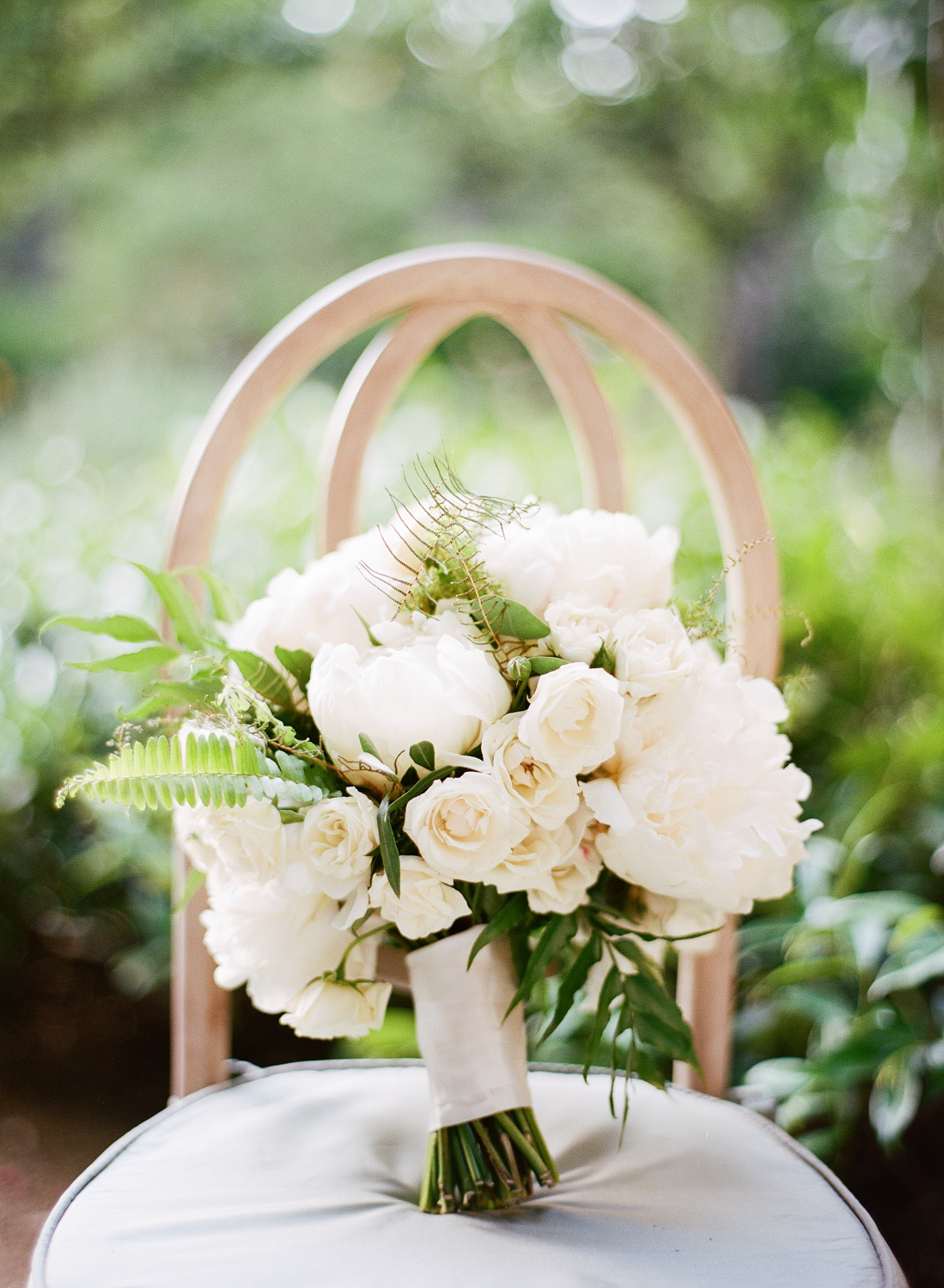 White rose, peony, and fern bouquet by Florabella Studios; Sylvie Gil Photography