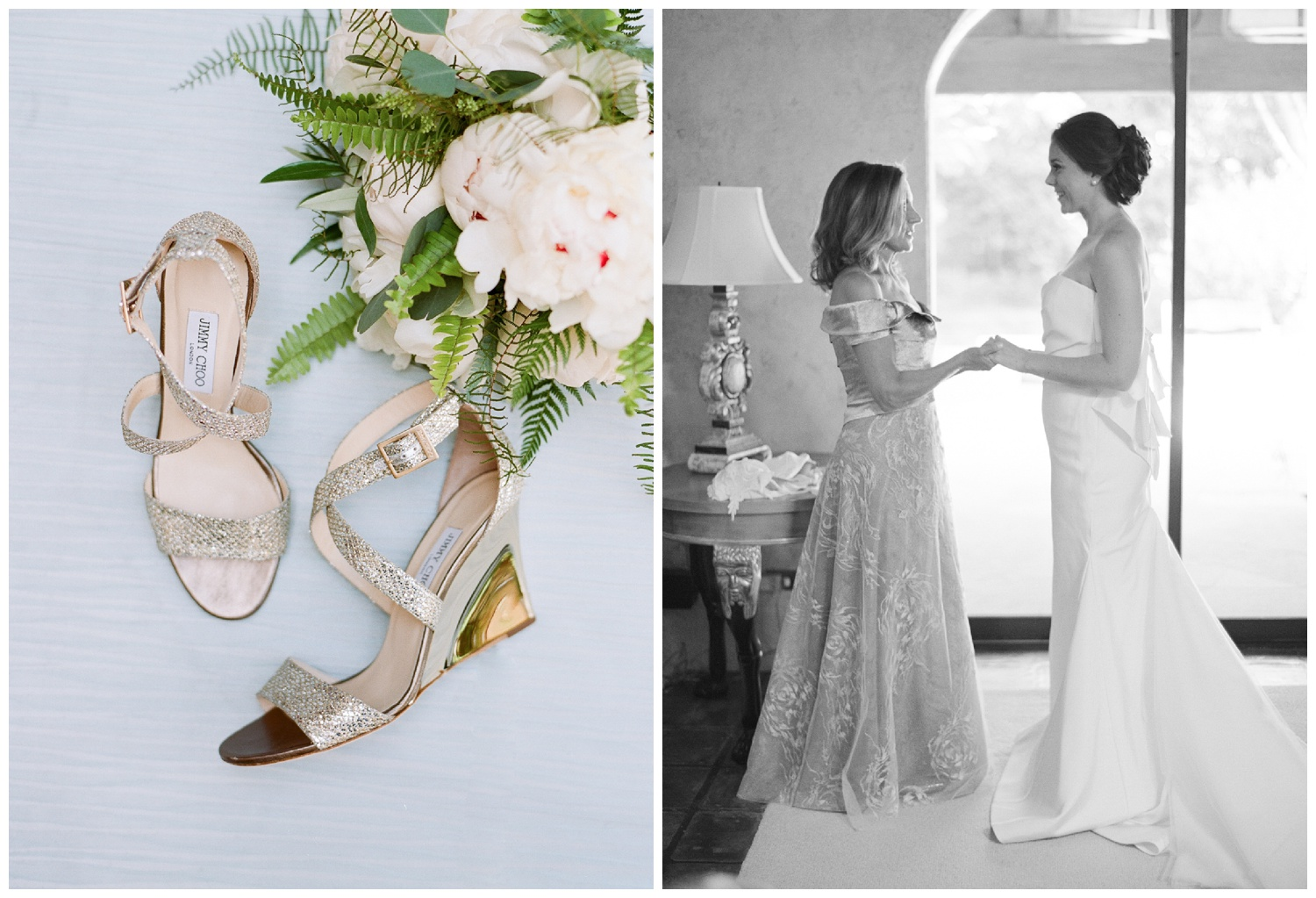 Jimmy Choo heels and the bride getting ready in a Vera Wang contemporary wedding gown; Sylvie Gil Photography