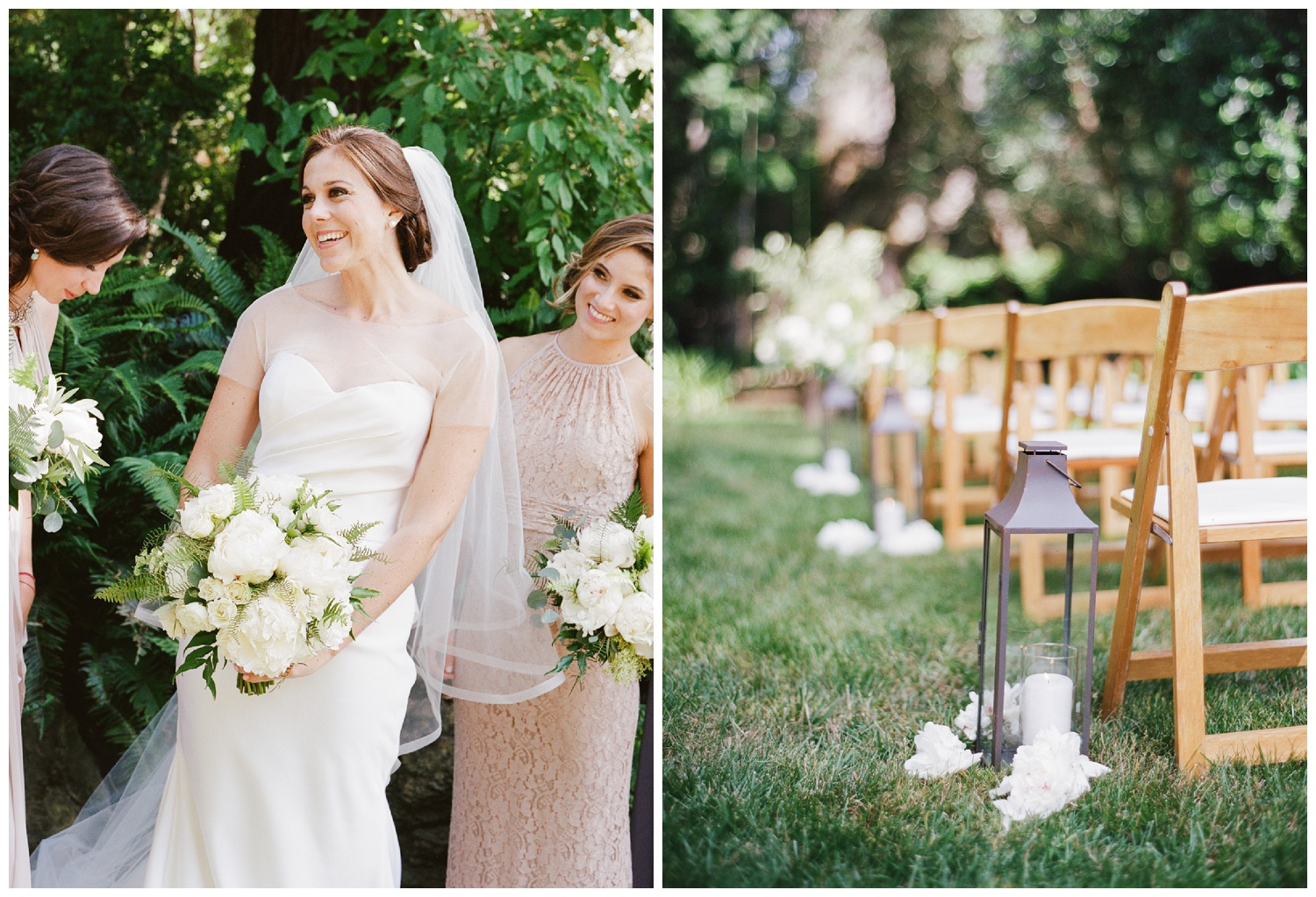 The bride and the outdoor ceremony space in a private estate in Woodside, California; Sylvie Gil Photography