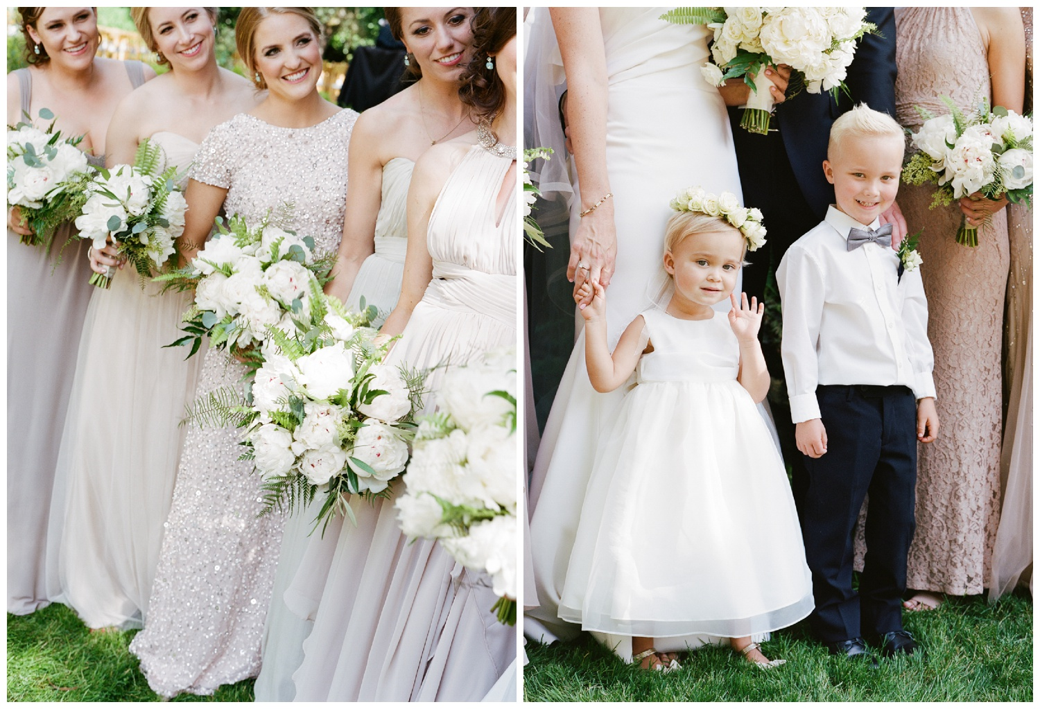 Bridesmaids with matching bouquets, a little flower girl and ringbearer; Sylvie Gil Photography