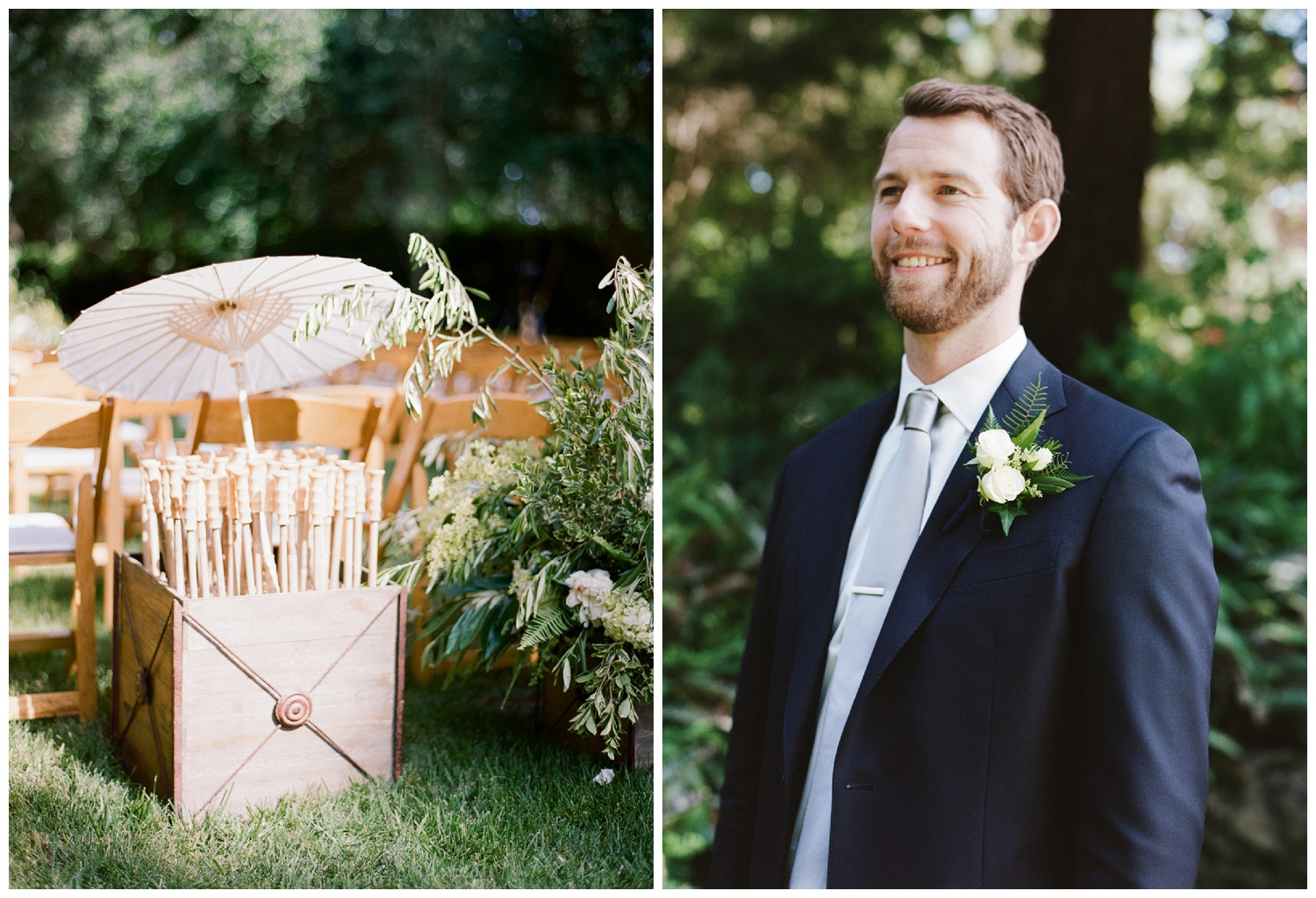 Parasols for guests at the ceremony space, the groom stands in a navy suit and grey tie; Sylvie Gil Photography
