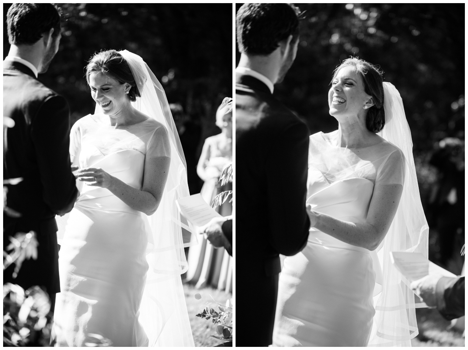The bride laughs while reading her vows during the ceremony, wearing a contemporary Vera Wang wedding gown; Sylvie Gil Photography