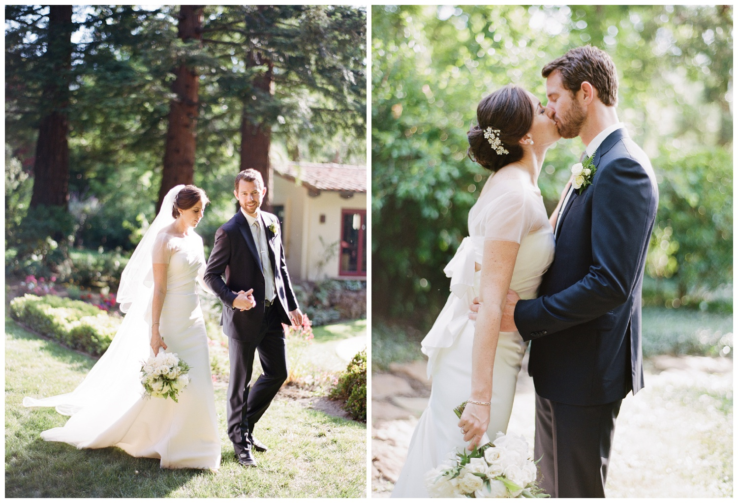Bride and groom share a kiss after the ceremony under redwoods at a private estate in Woodside, California; Sylvie Gil Photography