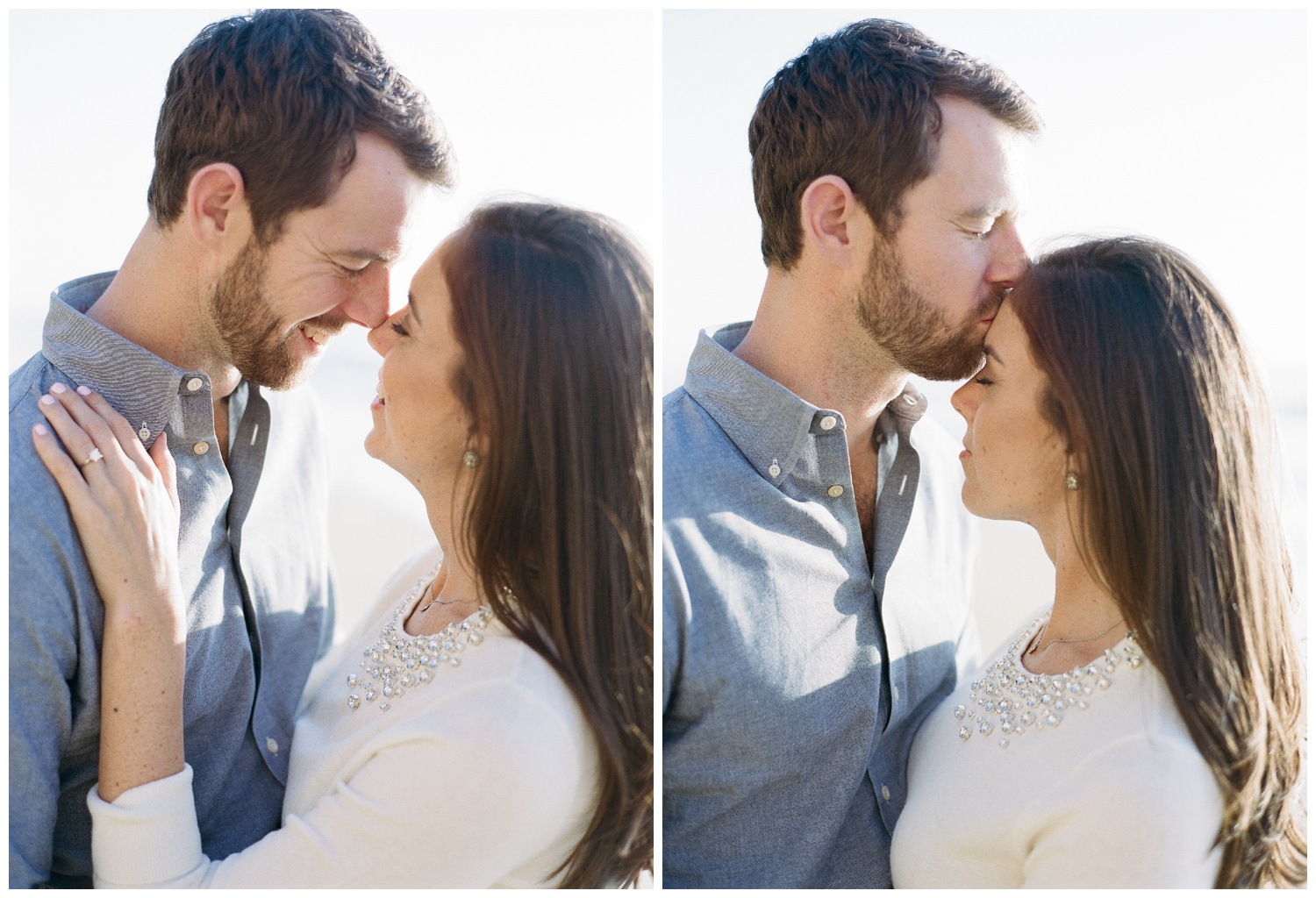 Couple laughs on beach during Northern California engagement session; Sylvie Gil Photography