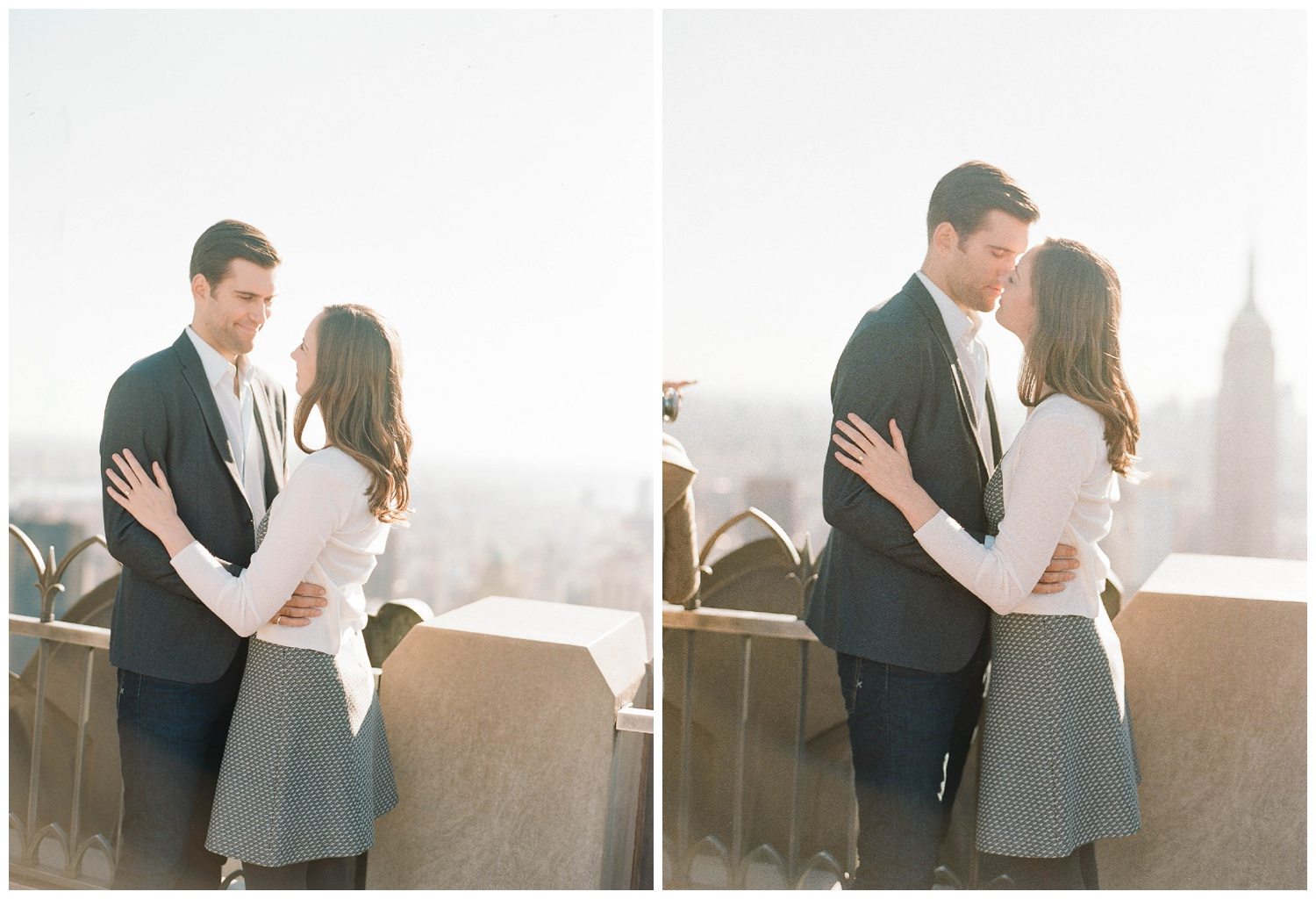 Couple at sunset atop a New York skyscraper during an autumn engagement session; Sylvie Gil Photography