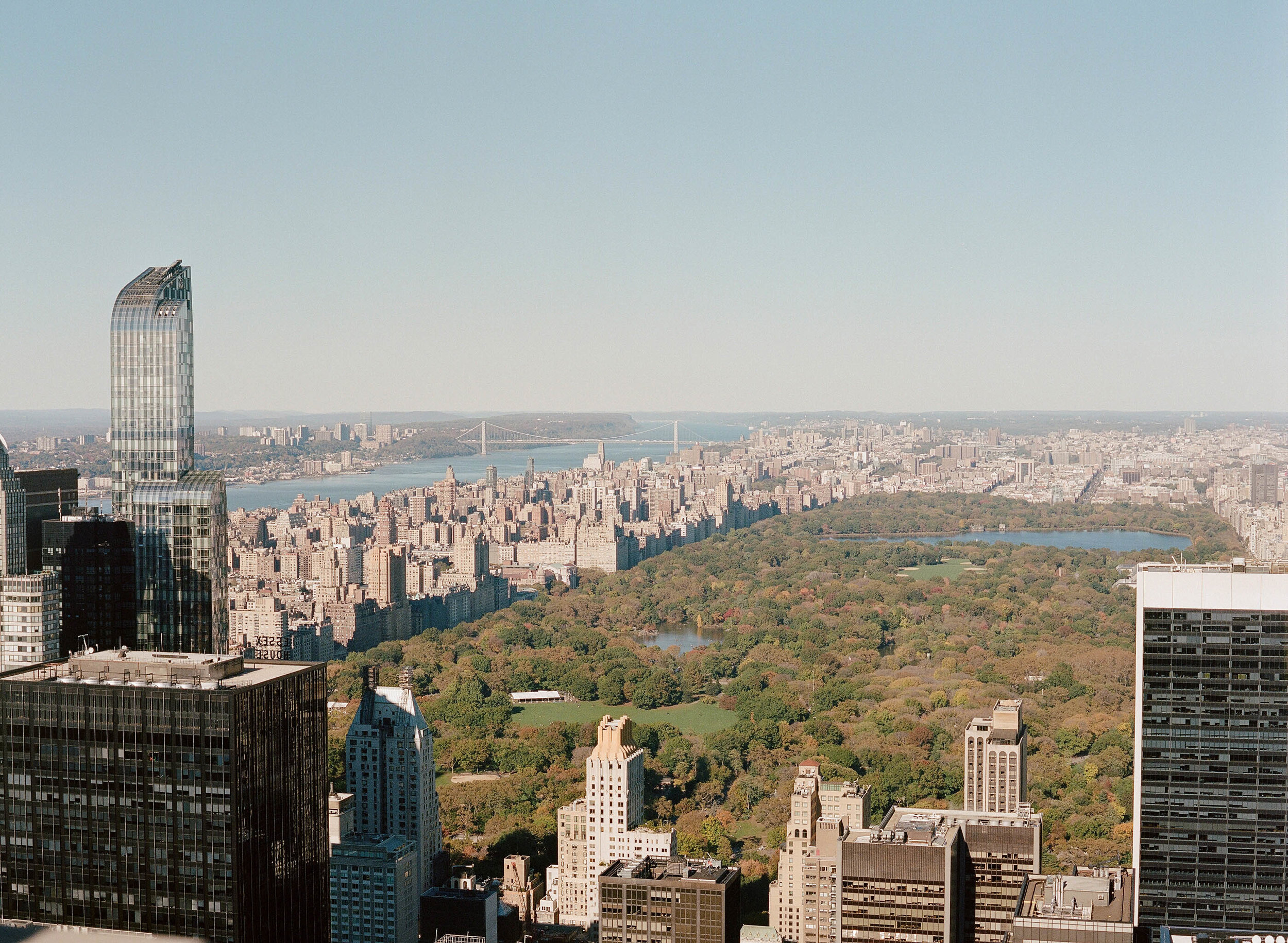 View of Central Park and Manhattan from a midtown skyscraper in New York City; Sylvie Gil Photography