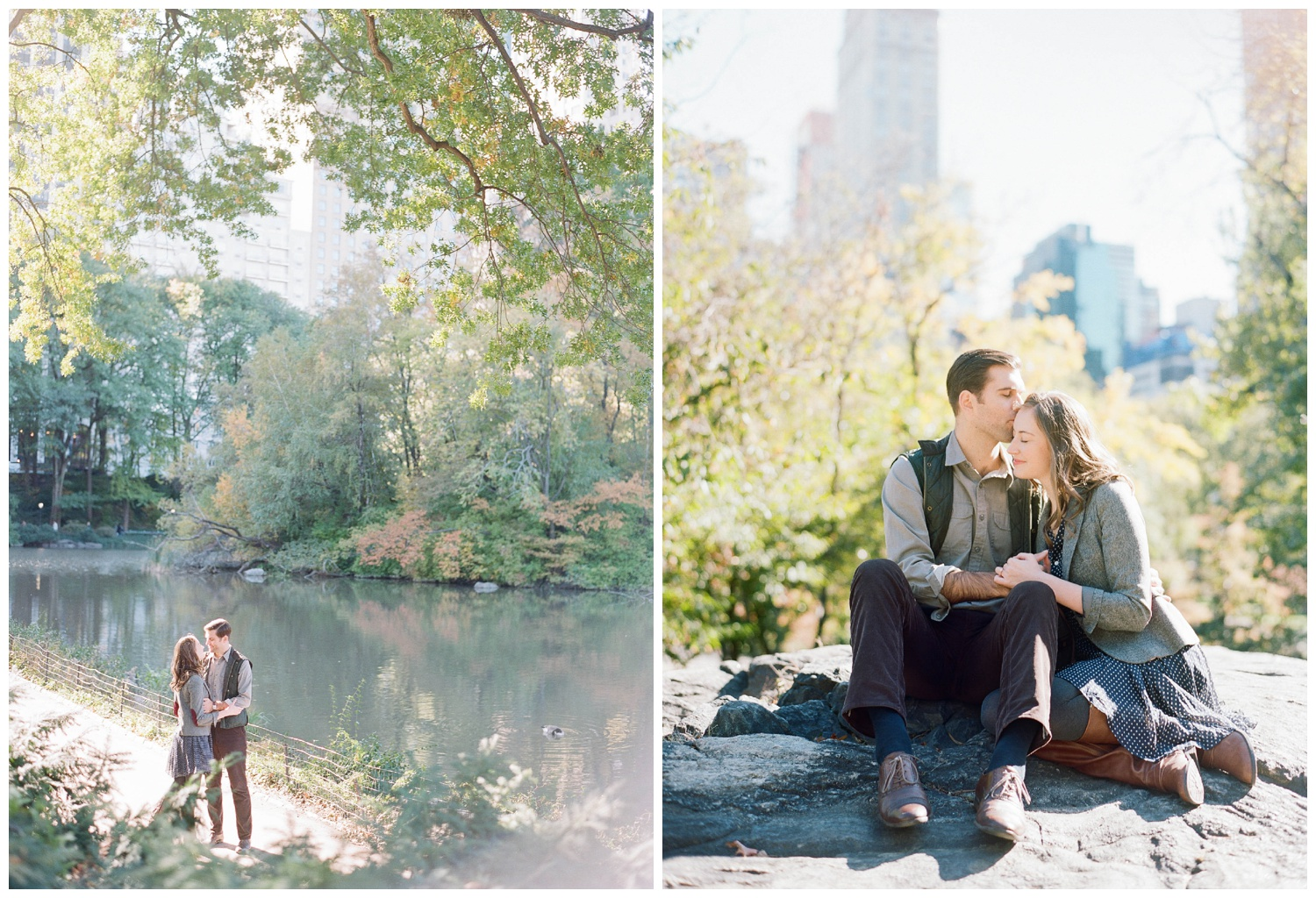 Cute couple during a fall engagement session in Central Park, New York City; Sylvie Gil Photography