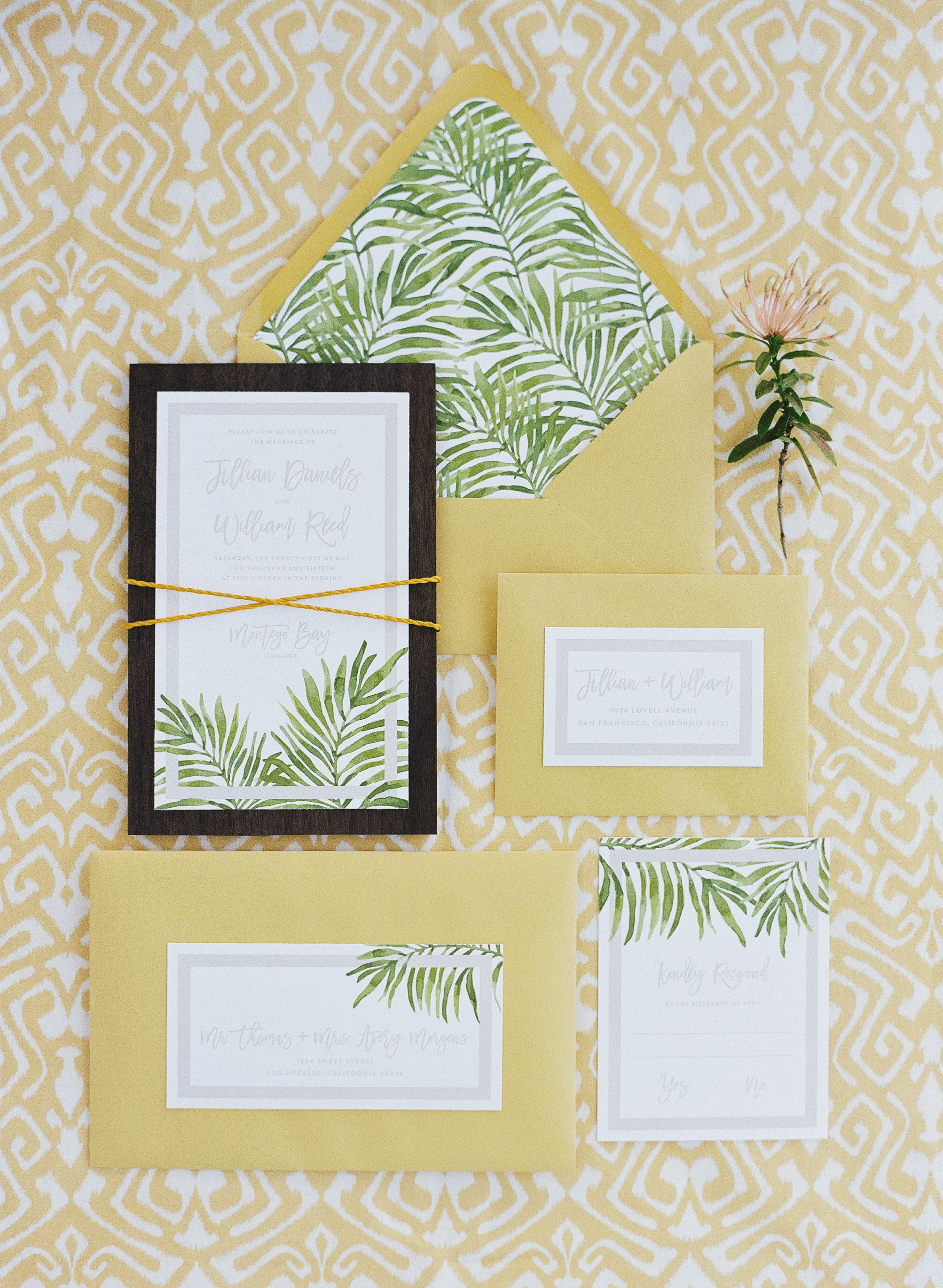 Tropical themed invitation suite for Jamaican styled shoot; Sylvie Gil Photography