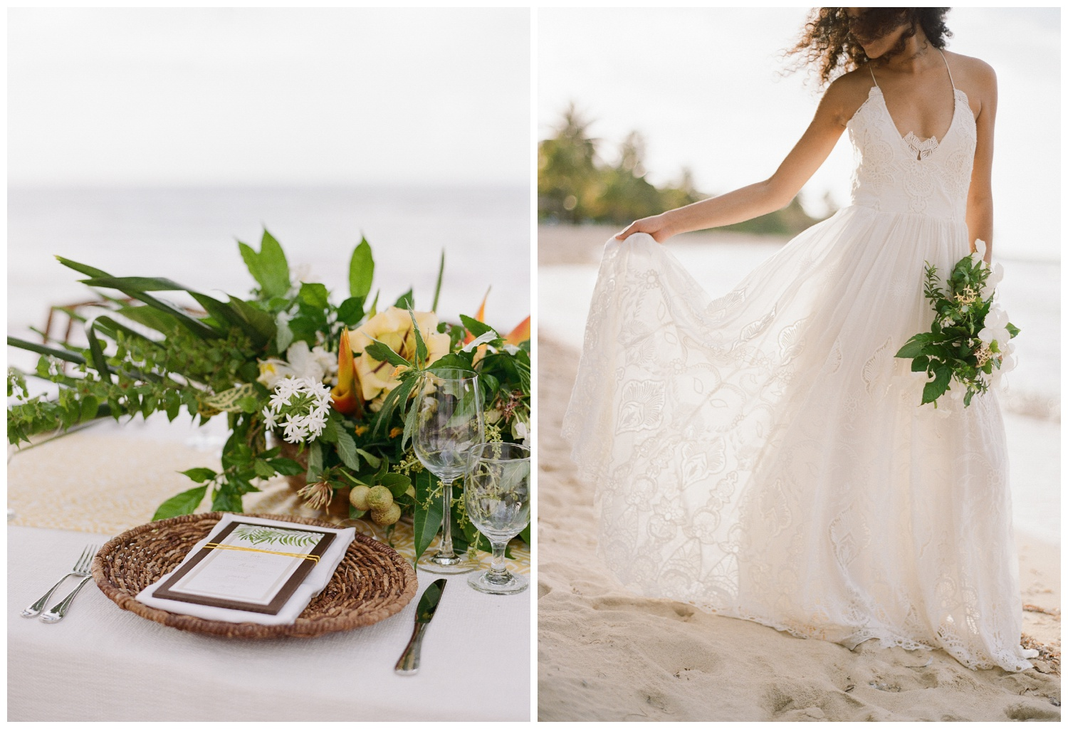 Wicker place settings and tropical blooms on a beachy wedding reception table; Sylvie Gil Photography