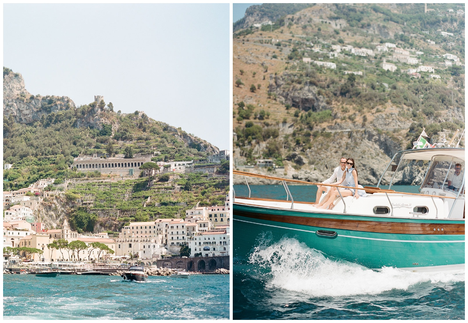 Newlyweds sit together on a yacht on their way to Positano, on the Amalfi Coast; Sylvie Gil Photography