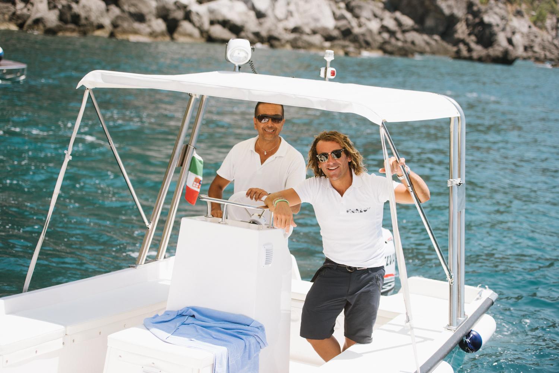 Two Italian boaters in Positano, Amalfi Coast, Italy; Sylvie Gil Photography