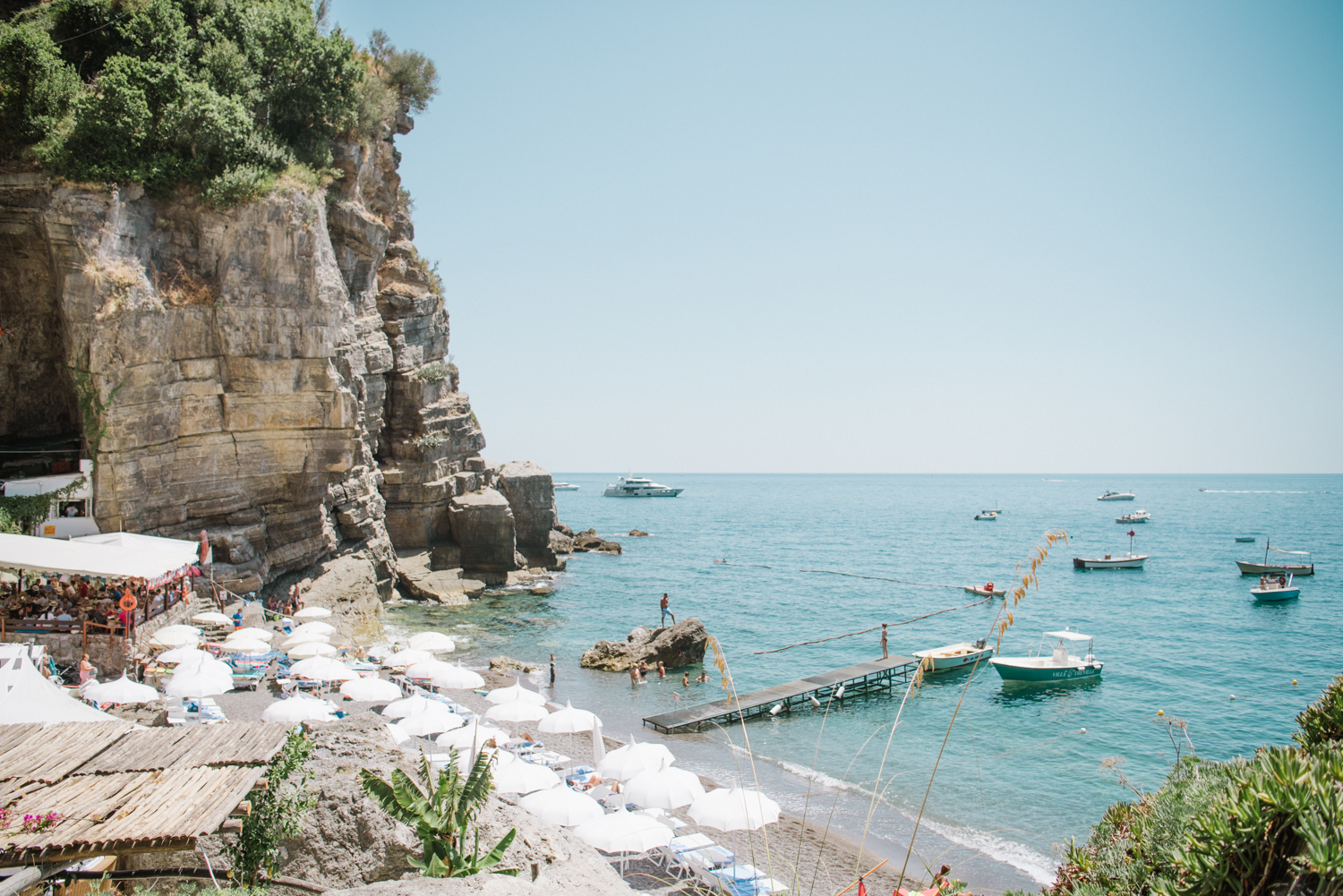A view from the beach club in Positano, Amalfi Coast, Italy; Sylvie Gil Photography
