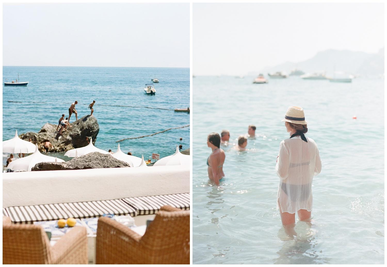 Beachgoers attending the wedding brunch at the beach club in Positano, Amalfi Coast; Sylvie Gil Photography