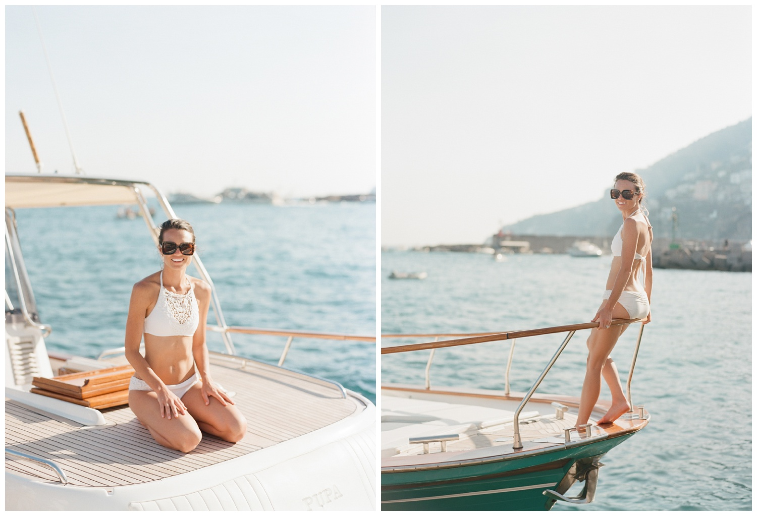The bride sits on a yacht in Positano, after her wedding brunch at the beach club; Sylvie Gil Photography