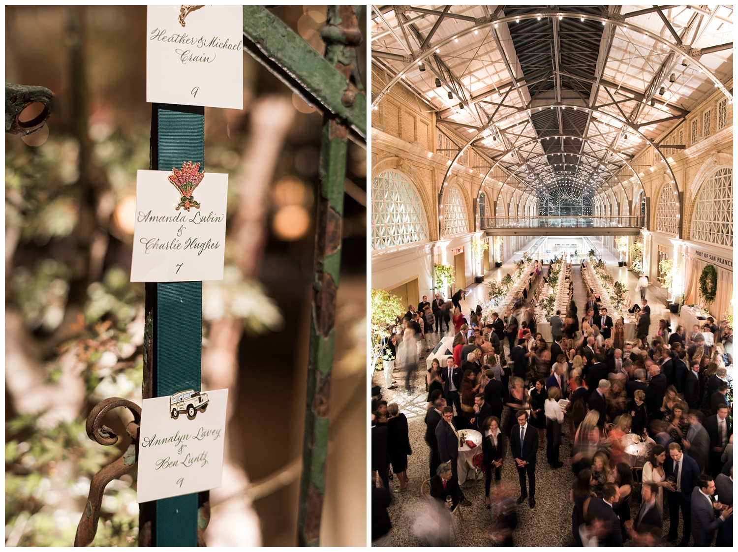 Reception namecards held with custom pins, guests have cocktails at the wedding reception in the Ferry Building at the Port of San Francisco; Sylvie Gil Photography