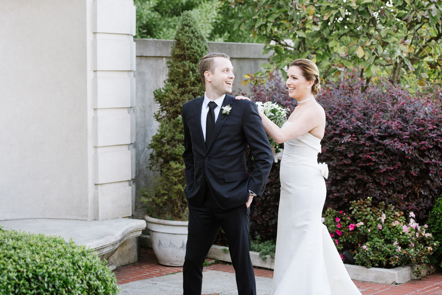 First look bride and groom at the Lyon Steps, San Francisco; Sylvie Gil Photography
