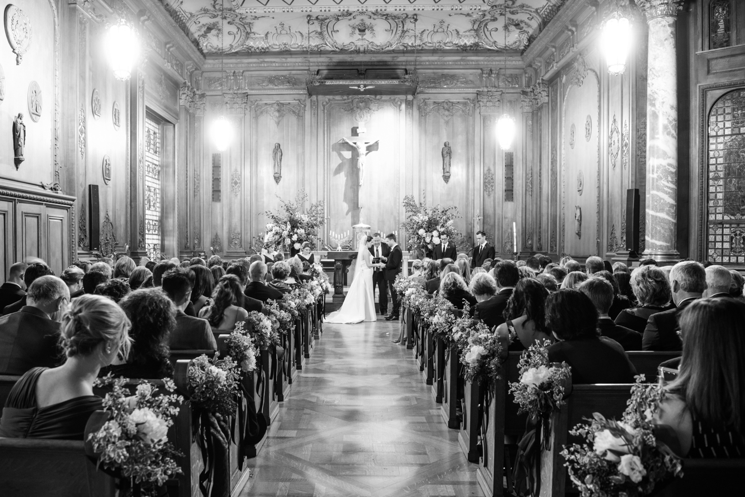 A wide shot of the wedding ceremony in San Francisco; Sylvie Gil Photography