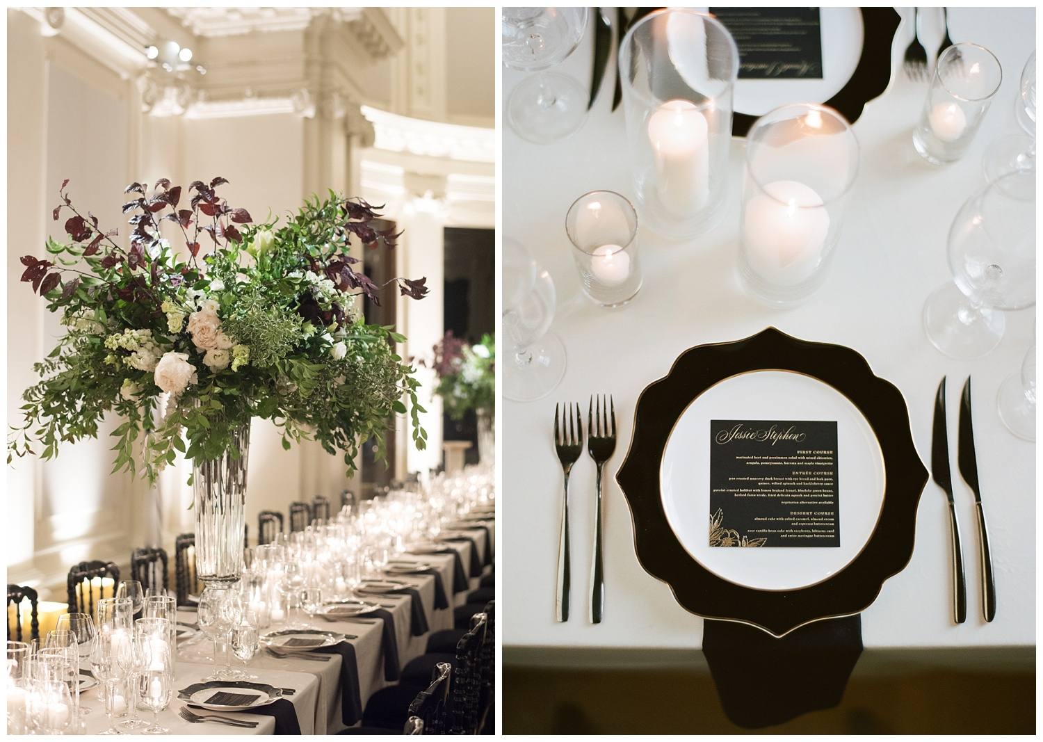 Flood mansion wedding reception, tall centerpieces; Sylvie Gil Photography