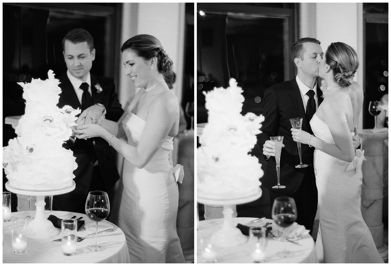 The couple cuts their white ruffled wedding cake and shares a kiss; Sylvie Gil Photography
